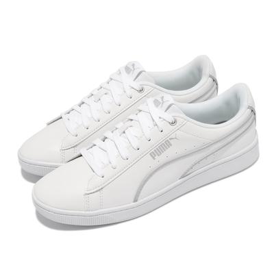 Puma 休閒鞋 Vikky v2 Hem 女鞋 海外限定 基本款 皮革鞋面 穿搭 白 銀 37110901