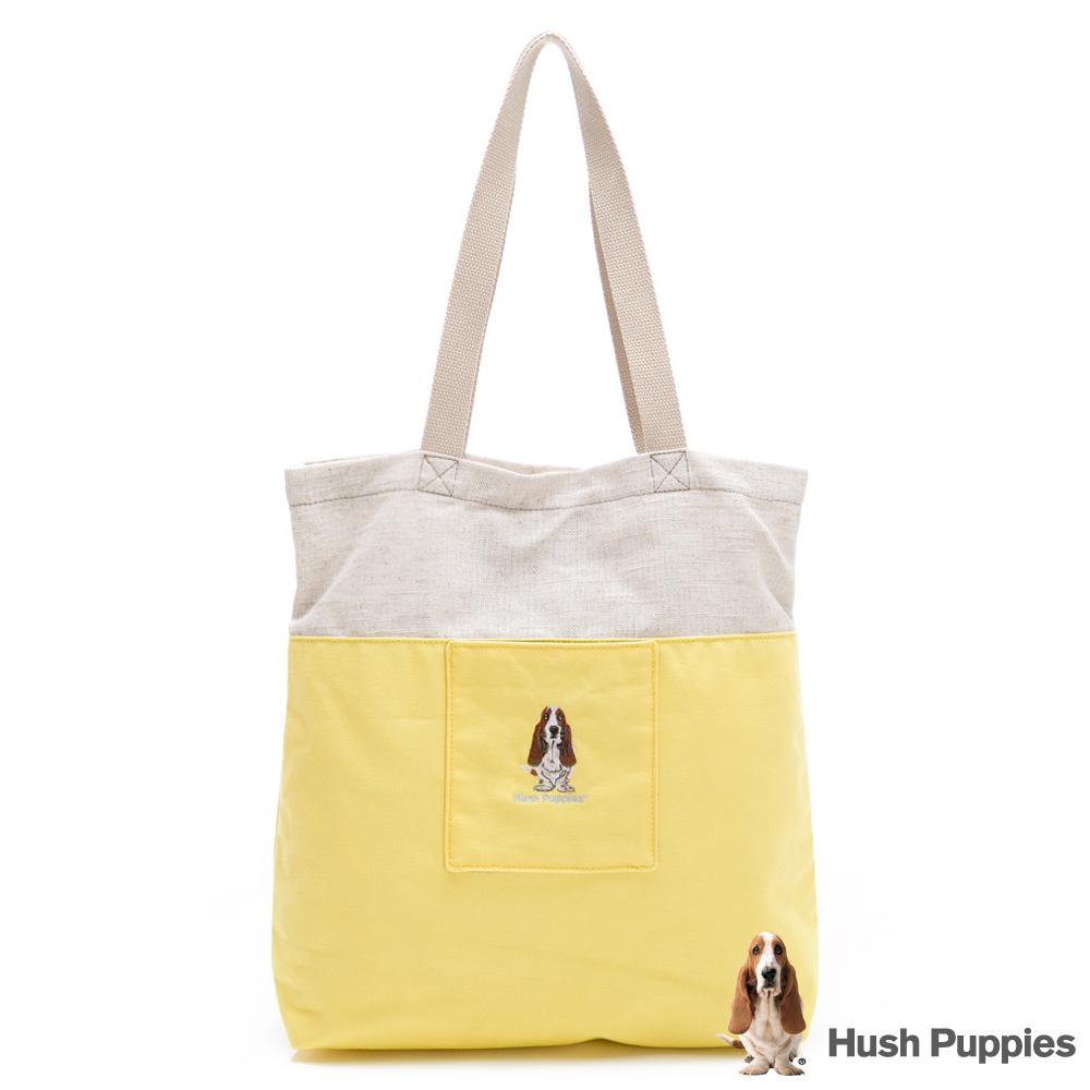 Hush Puppies 粉彩拼接帆布袋-黃色