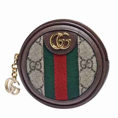 GUCCI Ophidia系列帆布印花綠紅綠織帶皮革飾邊拉鍊零錢包(烏木色)