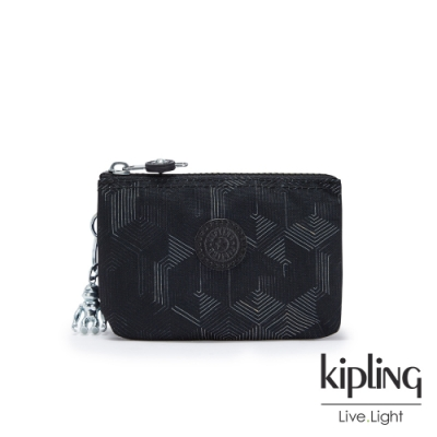 Kipling 幾何圖騰黑三夾層配件包-CREATIVITY S