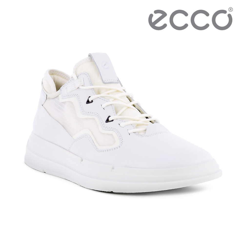 ECCO SOFT X W 純色網面拼接休閒鞋 女鞋 白色