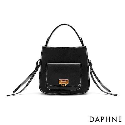 達芙妮DAPHNE-撞色車線鞍型小方包-黑
