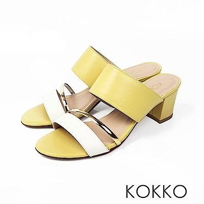 KOKKO - 女王盛宴撞色拼接涼拖粗跟鞋 - 芒果黃