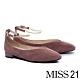 低跟鞋 MISS 21 簡約優雅鍊條踝繫帶方頭低跟鞋-粉 product thumbnail 1