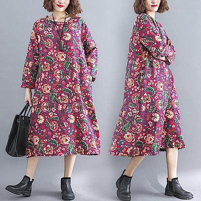 桃紅花卉寬鬆圓領連身裙-L-XL