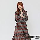 H:CONNECT 韓國品牌 女裝-綁帶格紋魚尾洋裝-棕