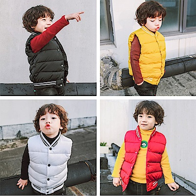小衣衫童裝   兒童簡約加厚款夾棉帥氣背心1061114