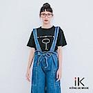 iK-休閒寬鬆腰鬆緊丹寧九分吊帶寬褲