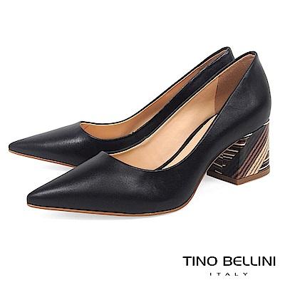 Tino Bellini 巴西進口簡單不凡圖騰造型跟鞋 _ 黑