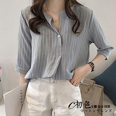 時尚條紋V領襯衫-共4色(M-2XL可選)    初色