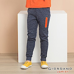 GIORDANO 童裝素色羅紋抽繩休閒束口褲-11 緞彩靛藍