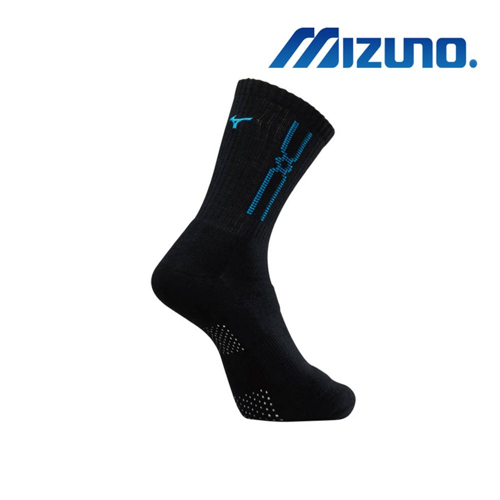 MIZUNO 男運動厚底襪(加大尺寸) 5入 黑X藍 32TX900992