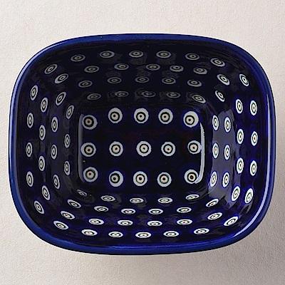 【波蘭陶 Zaklady】波蘭陶 藏青小卉系列 方型烤皿 300ml 波蘭手工製