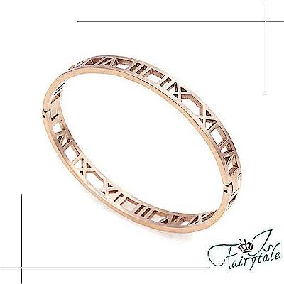iSFairytale伊飾童話 鏤空羅馬 316L鈦鋼玫瑰金手環