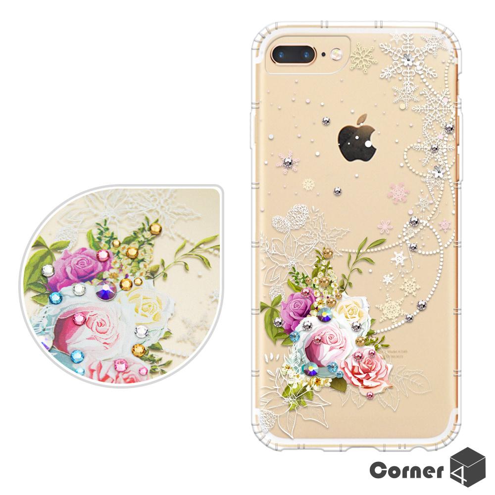Corner4 iPhone8/7/6s Plus 5.5吋奧地利彩鑽防摔手機殼-緋雪薔薇