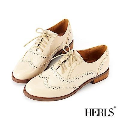 HERLS 質感品味 內真皮異材質雕花牛津鞋-米色