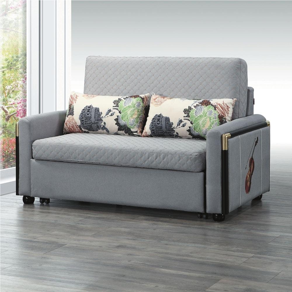 文創集 多爾曼 時尚透氣棉麻布多功能沙發/沙發床(二色可選+拉合式機能設計)-120x208x43cm免組