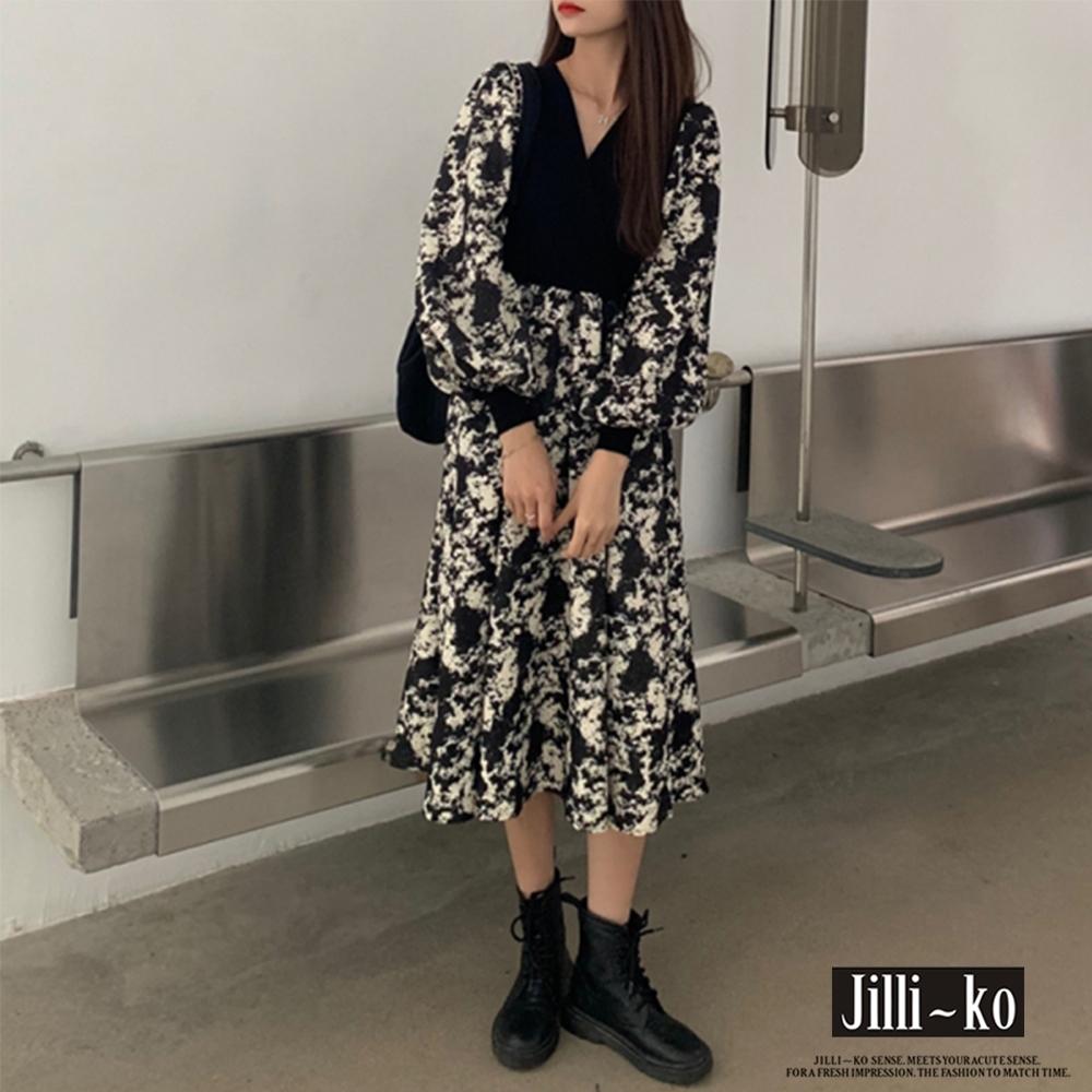JILLI-KO 假兩件泡泡袖印花復古連衣裙- 黑色