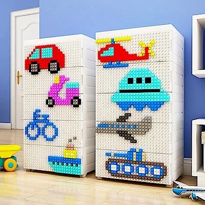 【魔法腳印】童趣益智積木拼圖五層玩具收納櫃-交通工具((拆開即用 免組裝)