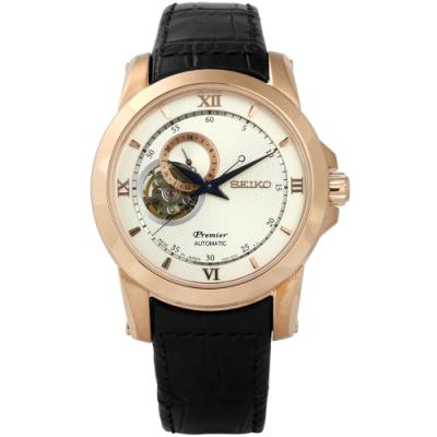 SEIKO 精工 Premier 羅馬藍寶石水晶真皮機械手錶-銀白x玫瑰金框x黑/41mm