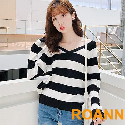 大V領寬條紋長袖針織上衣 (共二色)-ROANN