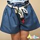 Azio 女童 褲裙 彩色綁帶牛仔褲裙(藍) product thumbnail 1