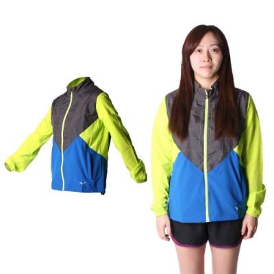 MIZUNO 女路跑風衣-慢跑 防風 連帽外套 美津濃 黑藍芥末綠