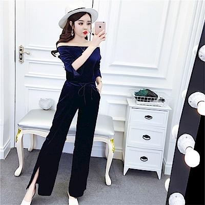 DABI 韓系金絲絨時尚開叉寬口褲套装長袖褲裝