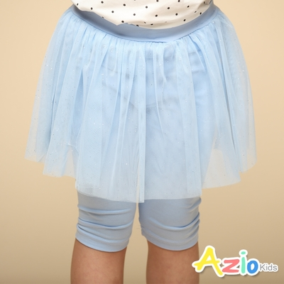 Azio Kids 女童 內搭褲 網紗金蔥五分內搭褲(藍)
