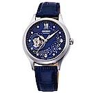 ORIENT 閃耀自信水鑽自動上鍊鏤空機械女錶(RA-AG0018L10B)-藍x34mm