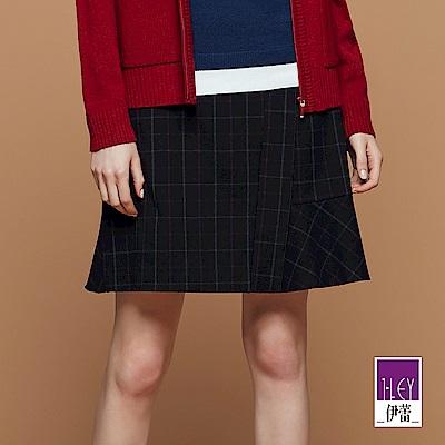 ILEY伊蕾 時尚英倫風格紋A字裙(黑/藍)