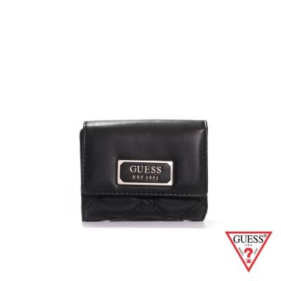 GUESS-女夾-LOGO壓紋磁扣短夾-黑