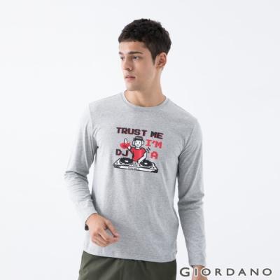 GIORDANO   男裝8Bit像素印花T恤 - 12 中花灰