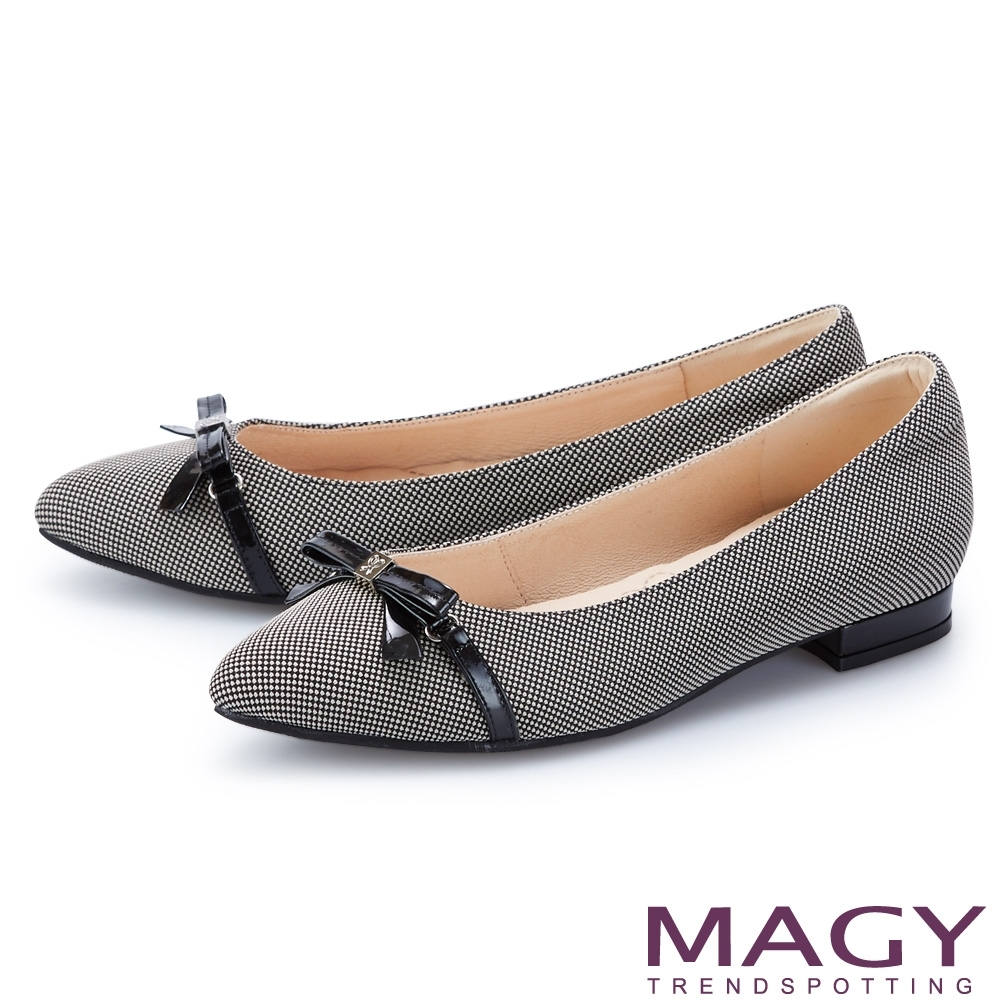 MAGY 細版皮革蝴蝶結尖頭 女 平底鞋 灰色
