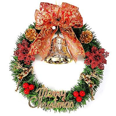 摩達客 台灣製14吋可愛單藤綠色聖誕花圈(紅果聖誕花鹿款)(台灣手工組裝)(本島免運費)