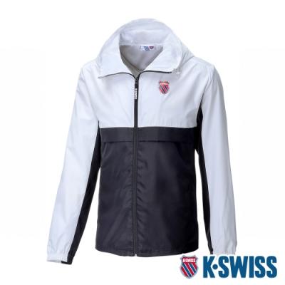 K-SWISS Contrast Track Jacket抗UV風衣外套-男-白/黑