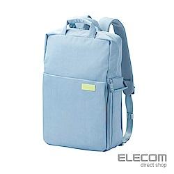 ELECOM 帆布3WAY薄型後背包OF04(限定色)-L粉藍