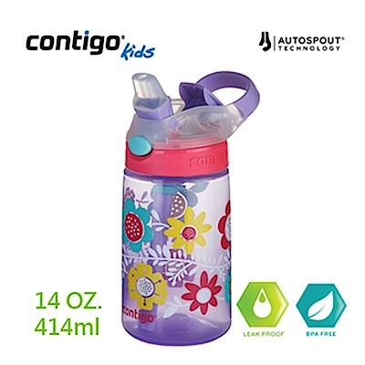 美國CONTIGO Gizmo 吸管兒童水壺414cc-籽蘭花