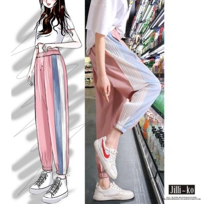 JILLI-KO 冰絲風琴摺雪紡闊腿褲- 粉紅/黑