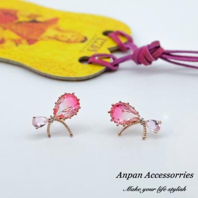 【ANPAN愛扮】韓東大門優雅超仙氣質蝴蝶結水晶925銀耳針式耳環