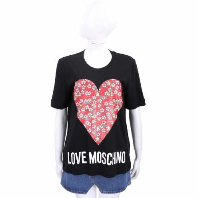 LOVE MOSCHINO 碎花紅心字母黑色微彈性短袖TEE T恤