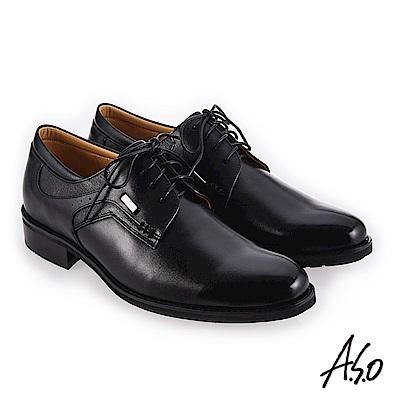 A.S.O 菁英通勤 舒適耐穿真皮鞋 黑