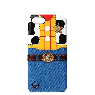iPhone 8/7 海外限定 迪士尼 皮革插卡口袋 手機硬殼 4.7吋-胡迪