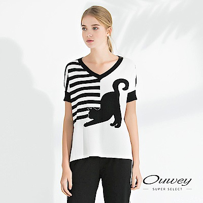 OUWEY歐薇 貓咪配色條紋連袖針織上衣(白)