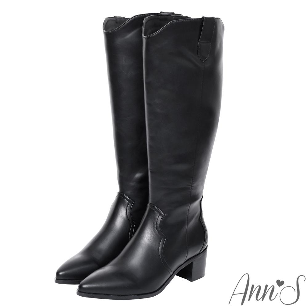 Ann'S寬版復古皮革-超修身V口顯瘦粗跟西部及膝長靴-黑