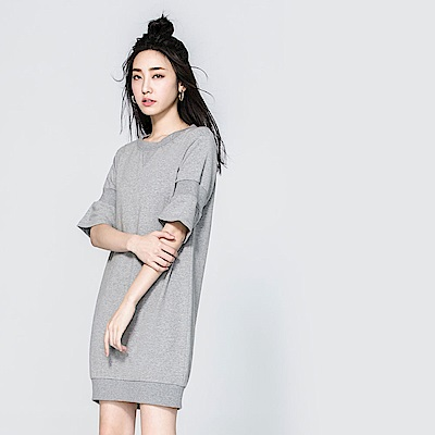 SUITANGTANG 羅紋造型純棉洋裝-灰