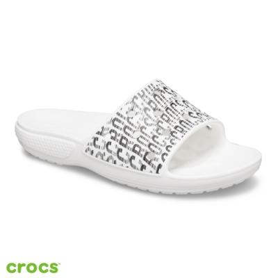 Crocs卡駱馳 (中性鞋) 經典LOGO狂熱圖案拖鞋 206124-103