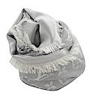 LV M70804 經典花紋羊毛披肩大方巾(珍珠灰)