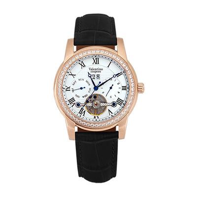 Valentino Coupeau 范倫鐵諾 古柏 閃耀晶橋機械錶 (玫殻/白面/黑帶)