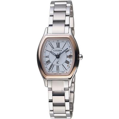 CITIZEN  xC 綻放時刻鈦金屬腕錶(ES9355-58A)-銀/25mm